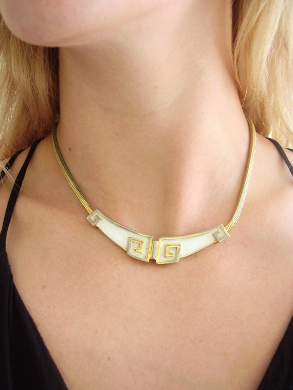 Egyptian White and Gold Tone Enamel Choker Collar Necklace - Vintage 70s