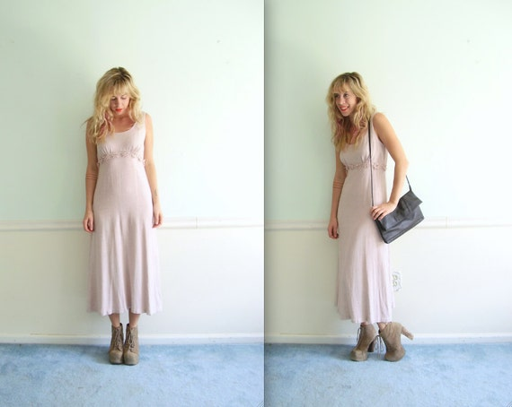 Daisy Chain Maxi Dress - Linen Blended - Vintage 90s Grunge - SMALL S