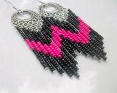 Custom Listing / Beaded Black and Hot Pink Chandelier earrings