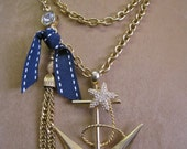 ANCHOR AWEIGH: Nautical Necklace Resort Wear Glam Statement One of a Kind ooak Vintage Assemblage