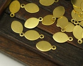 50 Pcs Raw Brass Oval Tags, Charms, Findings, Stamping Tag (13x7 Mm) Brs105 ( A0294 )