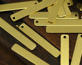 Brass Rectangle Bar, 50 Raw Brass Rectangle Charms With 1 Hole (25x4mm) Brs 652-1 A0225