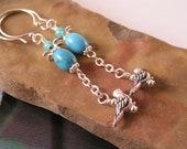 Silver Bird Turquoise Earrings, Southwest Earrings, Bird Earrings, Nature Earrings, Bird Charm Earrings