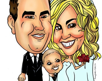 Online Custom Caricature, Wedding Couple Invites, Personalized Gift, Caricatures by Email, Save the Date, Caricature from Photo Portrait