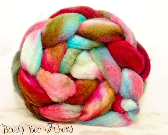Blue Face Leicester Wool Roving Hand Painted Combed Top Spinning or Felting Fiber  - 4.1 oz - PATHWAY