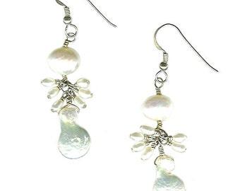 White Elongated Coin Pearl earrings