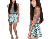 90's Tie-Dye Teal Shorts S/M Teal Green Tie Dye Pocket Cotton Cutoff Shorts