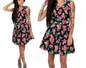 80's Floral Party Dress XS/S Neon Floral Abstract Prom Dress