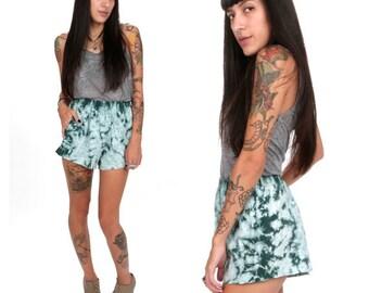 90's Tie-Dye Teal Shorts S/M Teal Green Tie Dye Pocket Cotton Cutoff Shorts