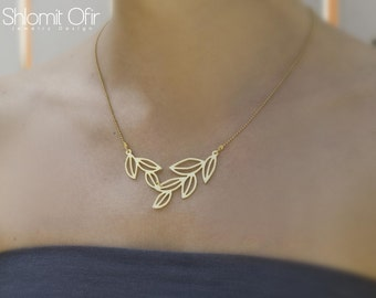 On Sale Spring Leaves Quartet Necklace, gold silver woodland pendant jewelry