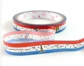 Cute Red, White And Blue French Themed Japanese Deco Tape - Eiffel Tower, Arc De Triomphe, Music Note, Bonjour, Salut, Cat, People, Window