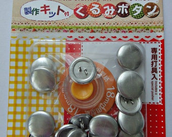 Button Covering Kit / Cover Button Kit / Set To Make Fabric Covered Buttons - Makes 18 Buttons 18mm Diameter
