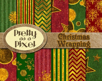 Christmas Wrapping - Green, Red, & Gold - Digital Paper Pack - Scrapbooking Backgrounds - 12 x 12 - Set of 12 - INSTANT DOWNLOAD