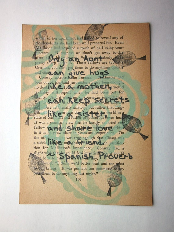 Aunt quote Spanish Proverb print on a book page
