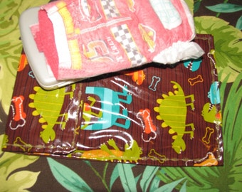 Diaper clutch, diaper and wipes carrier, Dino Dudes dinosaurs  laminated
