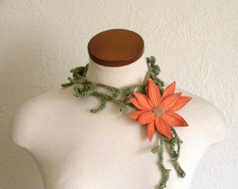 Orange Sorbet Lotus Flower with Green Lariat Scarf-  Fiber Art Scarf- Embroidered Silk Flower Lily Clip with Crochet Scarflette