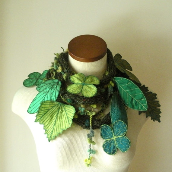 Long and Leafy Scarf with Embroidered Leaves- Tweedy Forest Green with Sap Green, Emerald Green, and Teal Berries- Fiber Art Scarf