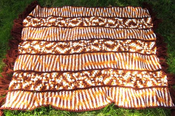 Vintage Orange White Brown Fringe Striped Throw Crochet Handmade Blanket Wrap