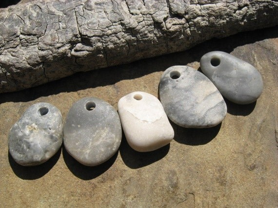 BEACH STONE Pendants Top Drilled Stones Stone Supply Lake Stone Jewelry CHARMS