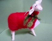 Christmas Sheep Felted Wool Ornament