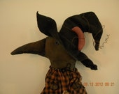 Primitive Halloween Crow Witch 31 Inches OOAK FITOFG OFG Team Door Greeter w/pumpkin