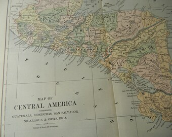 1887 Map Central America - Vintage Antique Map Great for Framing 100 Years Old