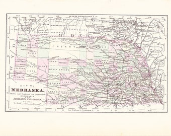 1895 State Map Nebraska - Vintage Antique Map Great for Framing 100 Years Old