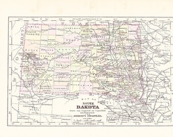 1895 State Map South Dakota - Vintage Antique Map Great for Framing 100 Years Old