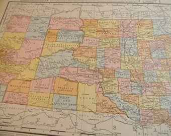 1910 State Map South Dakota - Vintage Antique Map Great for Framing 100 Years Old