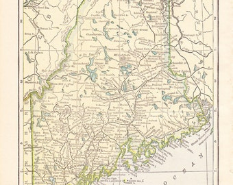 1910 State Map Maine - Vintage Antique Map Great for Framing 100 Years Old