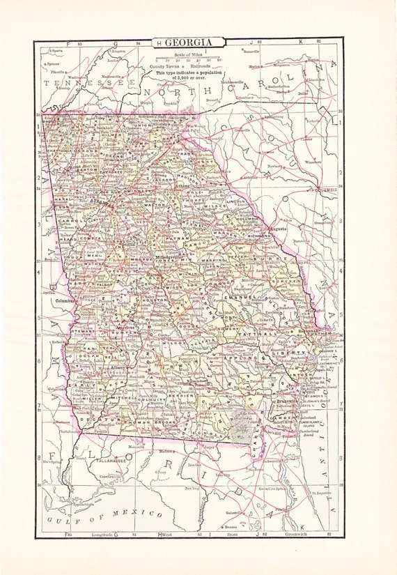 1897 State Map Georgia - Vintage Antique Map Great for Framing 100 Years Old