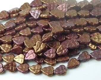 Czech Glass Leave Beads Bronze Luster Iris - Red (25 pc) (C093)