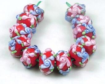 "Lampwork Handmade Beads ""Primrose Flower"" IV (12) (L643)"