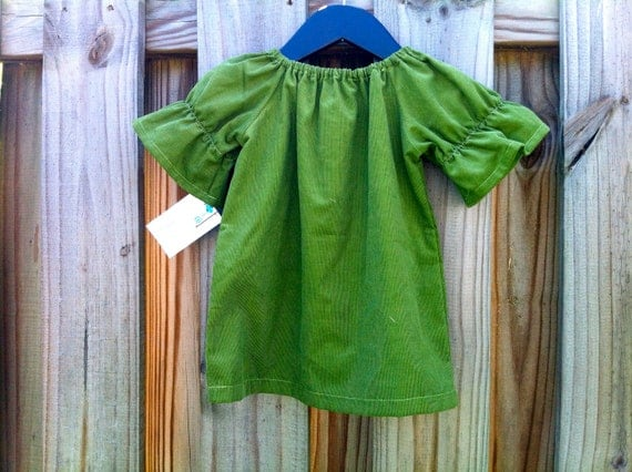 Reserved Listing.... Green Corduroy Tunic and Double Ruffle Denim