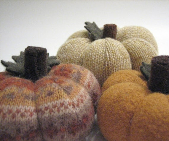 Group of Thanksgiving Sweater Pumpkins Handmade from Felted Wool - Collection No. 5