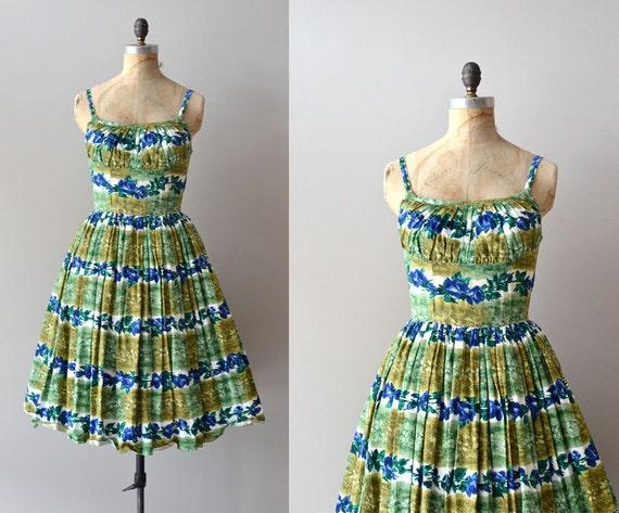vintage 1950s dress / 50s day dress /  Chlorophyta dress