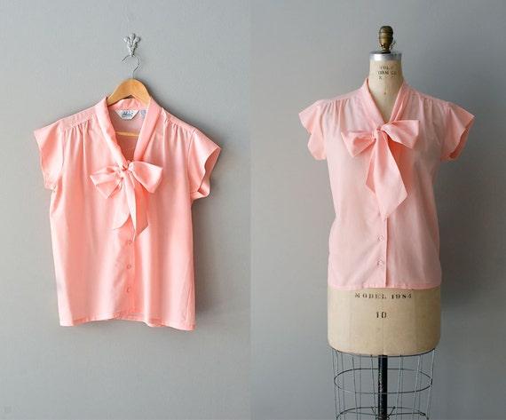 bow blouse / cap sleeve blouse / 70s silky bow blouse