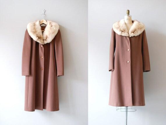 fur collar coat / fox fur 70s wool coat  / Bromleigh coat