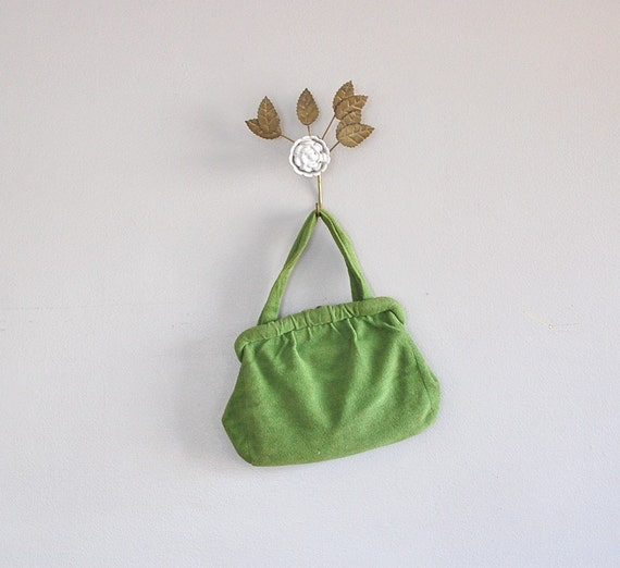 1940s handbag / 40s purse / Fresh Fern wool bag
