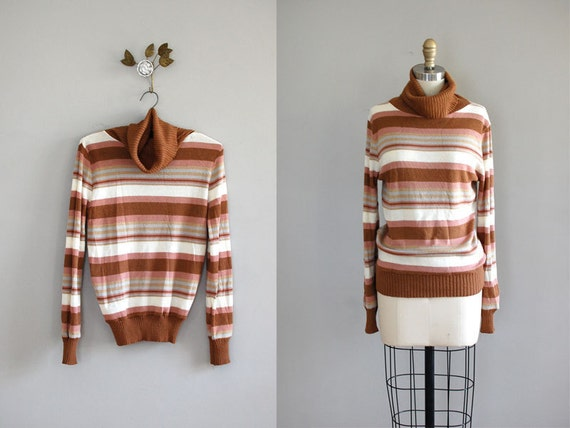 1970s sweater / knit turtleneck / Neapolitan Sweater