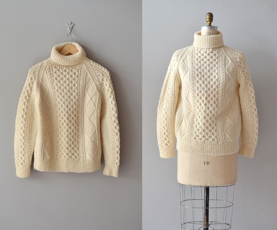cable knit sweater / fisherman's sweater / Carrais cream sweater