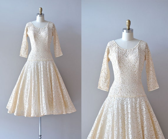vintage 50s wedding dress / lace 1950s dress / Always & Forever lace dress