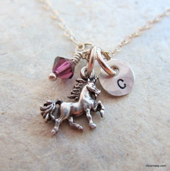 Unicorn Necklace - Unicorn Jewelry - Unicorn Charm Hand Stamped Initial Necklace - Magical Unicorn - Life is Rosey Charm Chain