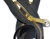 """14"""" HANDBAG Ykk Zipper with Long Pull- 14 inch Purse Zipper YKK # 5 Brass Teeth with  Extra-long Pull  Both end Closed Color  Black by Each"""