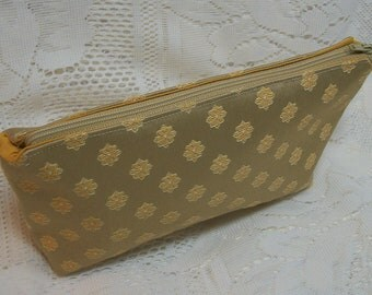 Bag Gold Clutch Pouch Pocketbook Small Lined Fabric