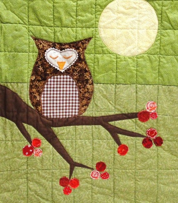 """owl wall quilt- """"Peaceful Winter Night''- with branch of red berries, green, brown, red, full moon, Christmas"""