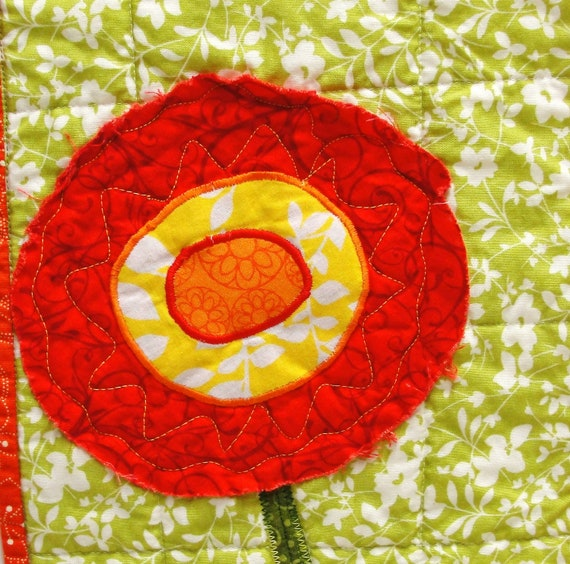 poppy wall quilt- single stem red, yellow and orange poppy on green- Ready to ship