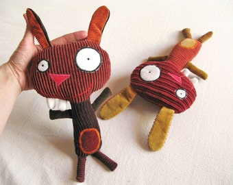Plush Rabbit - Recycled Fabric, Cartoon, Silly looking, Kid Art - GRIMMIE