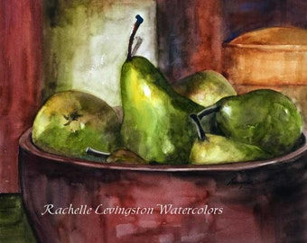 rustic fall decor Kitchen Wall Art Preserving Pears Print 8x10 kitchen wall decor PRINT Watercolor Pear PRINT Fruit Bowl Pottery Canister