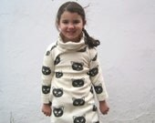 Organic Girls Cat Dress - Cowl Neck Dress in Black and White Mischevious Kitty - Fall Fashion (12 months 2T 3T 4T 5T)